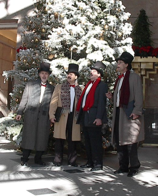 Chairmen of the Chord caroling at the Sanwa Bank Building